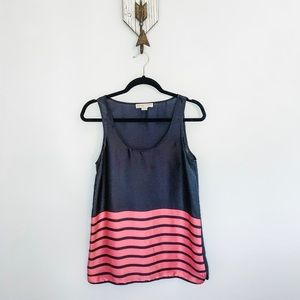Michael Kors Blue with Pink Stripes Tank Blouse